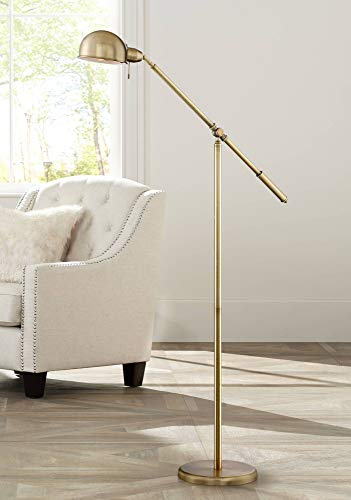 (Dawson Modern Pharmacy Floor Lamp Antique Brass Adjustable Boom Arm and Head for Living Room Reading Bedroom Office - 360 Lighting)