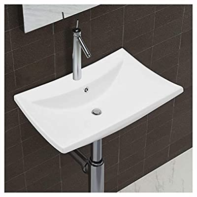 HomyDelight Sink, Luxury Ceramic Basin Rectangular with Overflow and Faucet Hole
