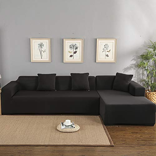 QTDJ Anti-Skid Sofa Slipcovers,2-Seater 3-Seater Sofa Covers; Sectional Corner L-Shaped Sofa Protector Dustproof Couch Cover Decoration-Black 75-91in