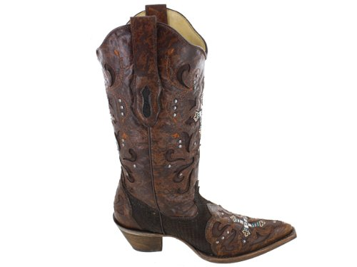 cd0c860b717 CORRAL Women's Python Crystal Cross Pointed Toe Cowgirl Boots C1104