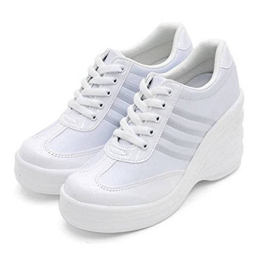 Sneakers Cheerleaders Lace Platform White2 Casual Heels Women's Fashion High up Shoes EpicStep UFvRqOU