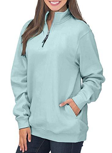 Women's Long Sleeve 1/4 Quarter Zip Stand Collar Fleece Pull