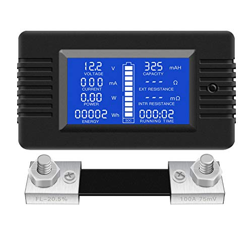 WATERWICH DC12-24V//0.1-10A Dual LED Digital Multimeter Amp Voltage Meter 2-in-1 Current Tester and Voltage Tester for Boat Marine Vehicle Truck ATV Car Camper LED Round Panel Blue