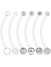 VCMART 6PCS 14G Clear Preganancy Belly Button Rings Felixble Sport Maternity Belly Button Ring Navel Barbell Body Jewelry Piercing Retainer