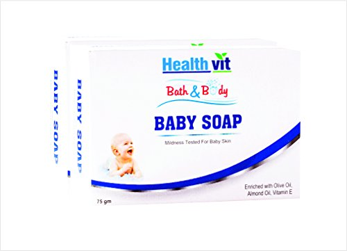 Healthvit Bath and Body Baby Soap (Olive, Vitamin E and Almond Oil), 75g (Pack of 2)