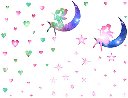 Mozamy Creative Fairy Wall Decals Fairy Blowing Stars Fairy Blowing Hearts Fairy Wall Sticker Girls Room Decor Peel and Stick Wall Decals (Hearts Fairy Sticker)