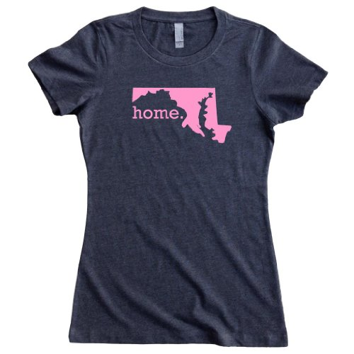 Homeland Tees Womens Maryland Home State T Shirt Small Charcoal Pink