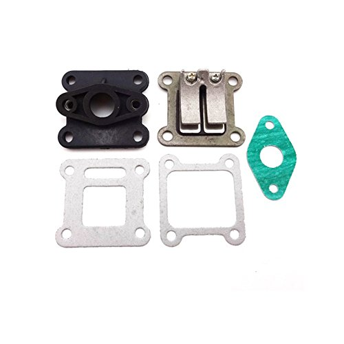 TC-Motor Reed Valve Inlet + Manifold Intake Pipe + Intake Pipe Gasket For 2 Stroke 47cc 49cc Engine Carburetor Mini Moto Kids ATV Quad Dirt Bike Pocket 4 Wheeler