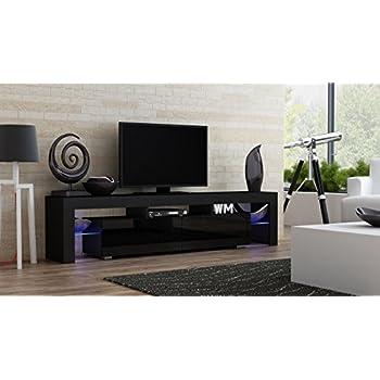 TV Stand MILANO 200 Black Body / Modern LED TV Cabinet / Living Room  Furniture /