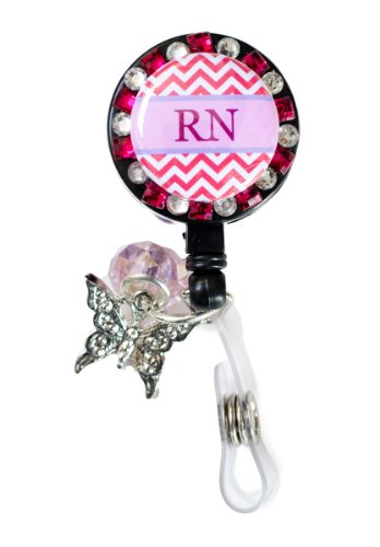 New Custom Bling RN Chevron Rhinestone Badge Reel Retractable ID Badge Holder w/ Jewel Accent & Custom Charms (Pink & Clear w/ Butterfly Charm) - Pieced Butterfly Design
