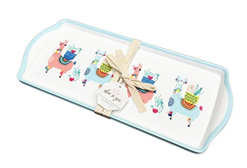 Whimsical Pink & Blue Desert Llama's & Cacti Set of Two Melamine Indoor/Outdoor Party Sandwich Hors d'oeuvre Platter Serving Trays ()