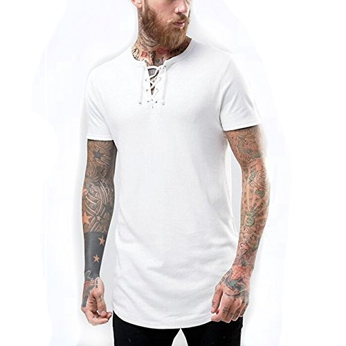 Men Super Longline Muscle T-Shirt With Lace Up V Neck And Curved Hem In Off-White XL