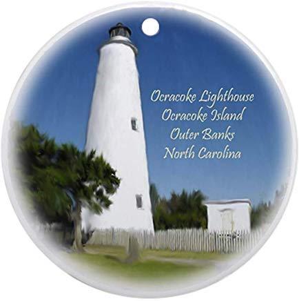 - Voicpobo Ocracoke Island Lighthouse Christmas Ornament Novelty Round Ceramic Christmas Ornaments Christmas Tree Decorative 3 inches