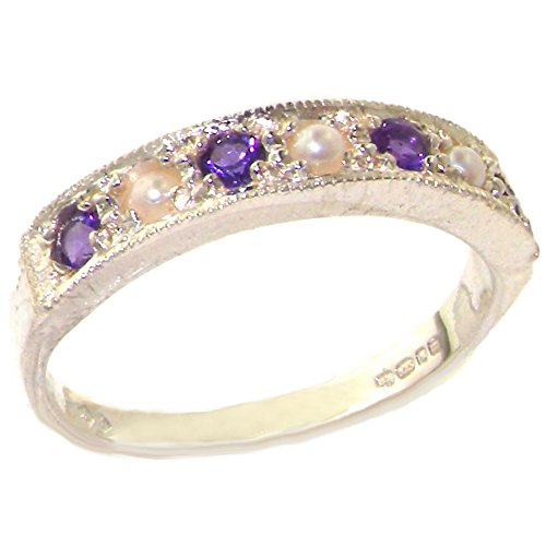 925 Sterling Silver Cultured Pearl and Amethyst Womens Band Ring - Sizes 4 to 12 Available
