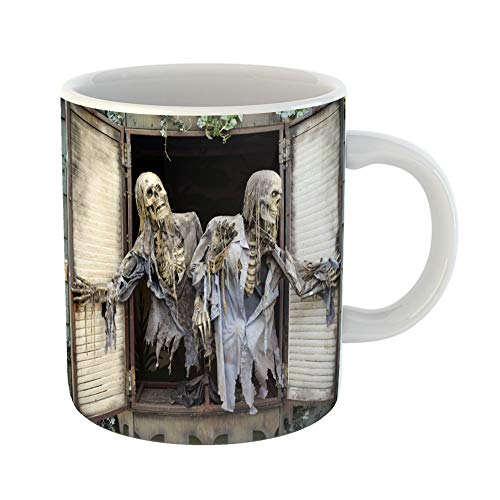 Emvency Coffee Tea Mug Gift 11 Ounces Funny Ceramic Halloween Ghost in Haunted House at the Pne Located Vancouver British Columbia Gifts For Family Friends Coworkers Boss -