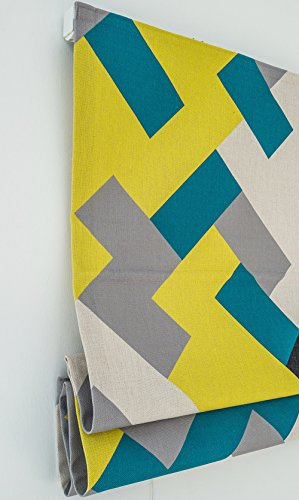 KARUILU home Quick Fix Washable Roman Window Shades Flat Fold, Geometric Color Pattern (32W x 63H, Ocean) by KARUILU home (Image #3)