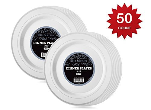 Elite Selection Pack of 50 White Dinner Disposable Party Plastic Plates With Silver Rim 10.25-Inch -