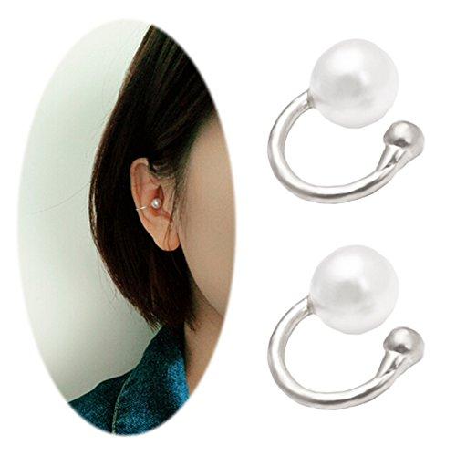 Faux Pearl U Studs Ear Crawler Earrings Cuffs Climber Ear Wrap Pin Vine Non-pierced Charm Clip On Jewelry Small Pearl Silver Tone
