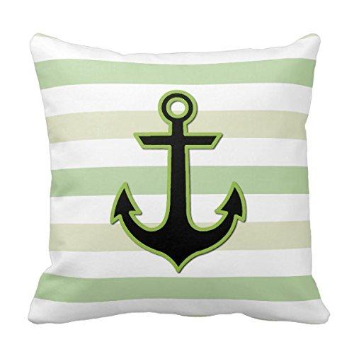 Bigdream Nautical Anchor Stripes - Black Green White Throw
