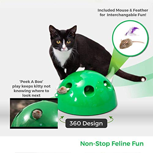 LUEXW Interactive Cat Toys - Cat Training Exercise Funny Play Toys Rotating Feather Mouse - Cat Kitten Automatic Spinning Chase Toy Low Noise 7