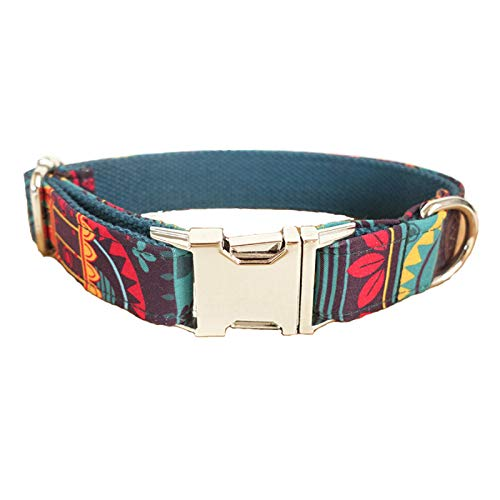 MoAndy Premium Ployester Adjustable Dog Collar with Metal Buckle Mayan Pattern Size XL -