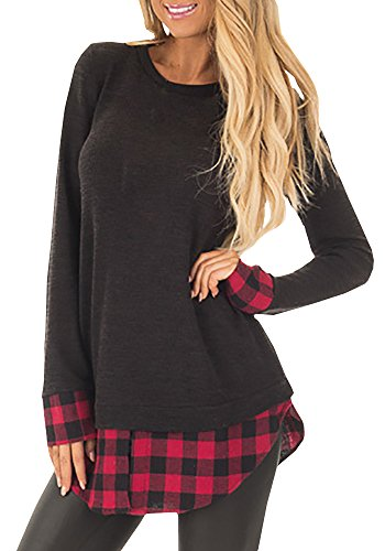 Shele Women's Long Sleeve Plaid Contrast Hem and Cuffs Knits Tops T-Shirts Blouses