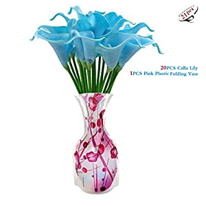 20PCS Calla Lily + 1PCS Pink Plastic Foldable Flower Vase for Bridal Wedding Bouquet Head Latex Real Touch Flower Bouquets 21