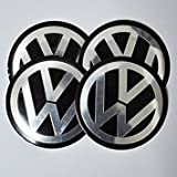 #9: 4x 55mm Black VW Volkswagen Wheel Logo Cap Badge Emblem Sticker by Madeforcar