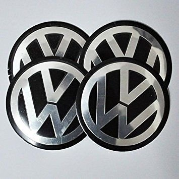 Cap Decal Sticker (4x 55mm Black VW Volkswagen Wheel Logo Cap Badge Emblem Sticker by Madeforcar)