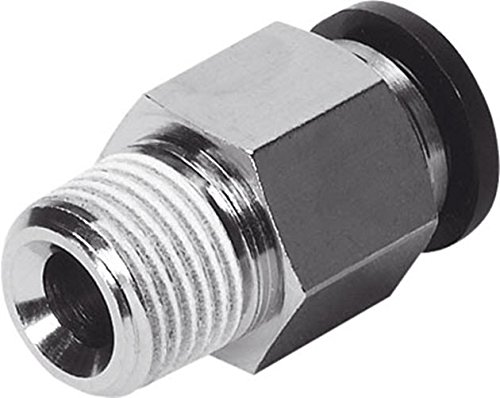 Festo 153002 QS-1/8-6 Push-in Fitting, Nickel Finish Minimum Order Requirement 10 / Order in Multiple of 10 from Festo