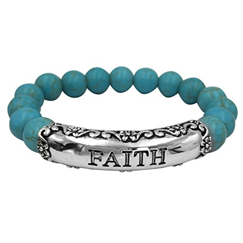 Inspirational Worded Single Strand Beaded Silver Tone Stretch Bracelet (Imitation Turquoise -
