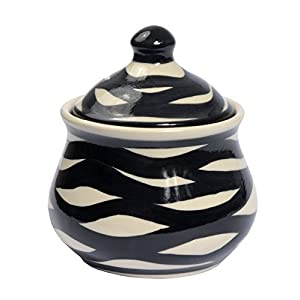 Traditional Polish Pottery, Handcrafted Ceramic Sugar Bowl with Lid (300ml / 10.5 fl oz), Contemporary Pattern, C.201.ZEBRA
