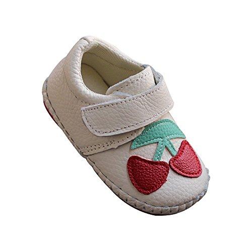 Kuner Infant Baby Boys Girls Genuine Leather Soft Bottom Non-Slip First Walkers Shoes (12.5cm(12-18months), Cherry) Genuine Leather Slip