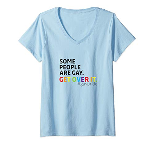 Womens LGBT PRIDE MONTH PARADE SHIRT - GET OVER IT V-Neck T-Shirt