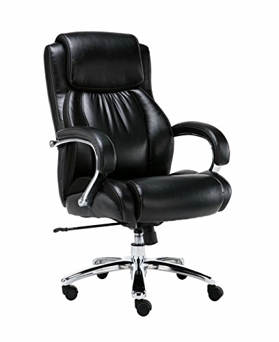 Corporate Executive Black Office Chair - Big and Tall, Bonded Leather, Heavy Duty Swivel and Tilt, Chrome Arms with Extra Thick Padding, Height Adjustment - Supports up to 500 Pounds Body Weight (Office Padding Chair)