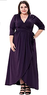 Sapphyra Women's Plus 3/4 Sleeve Ruched Waist Wrap Formal Maxi Dress Size 1X-5X