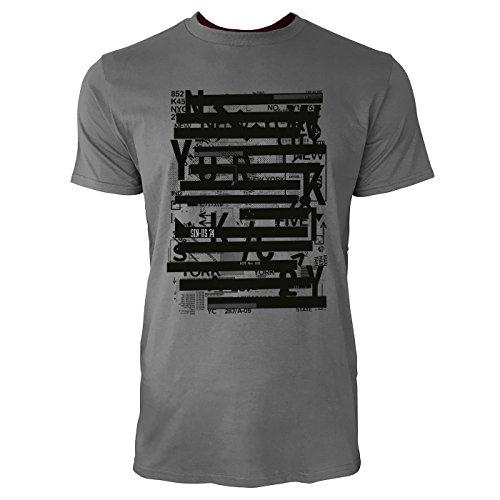 SINUS ART ® Abstrakte Collage mit Typographien Herren T-Shirts in Grau Charocoal Fun Shirt mit tollen Aufdruck