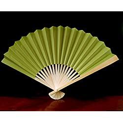 "Quasimoon PaperLanternStore.com 9"" Chartreuse Paper Hand Fans for Weddings (10 Pack)"