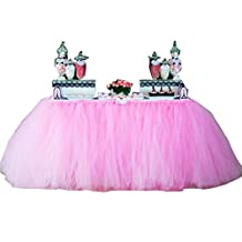 Wennikids Handmade Tutu Tulle Table Skirt Cover for Girl Princess Birthday Party, Baby Shower, Slumber Party & Home Decoration-Beautiful 1yard(91cm length)/79cm height Pink by Wennikids