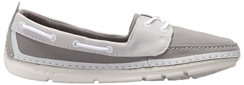 CLARKS Womens Step Maro Sand Boat Shoe, Grey Textile Combi, 9 Wide US