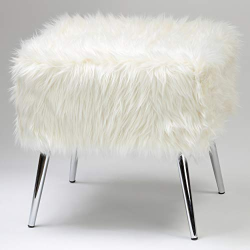 Cortesi Home Olivia Faux Fur Ottoman with Chrome Legs, 20