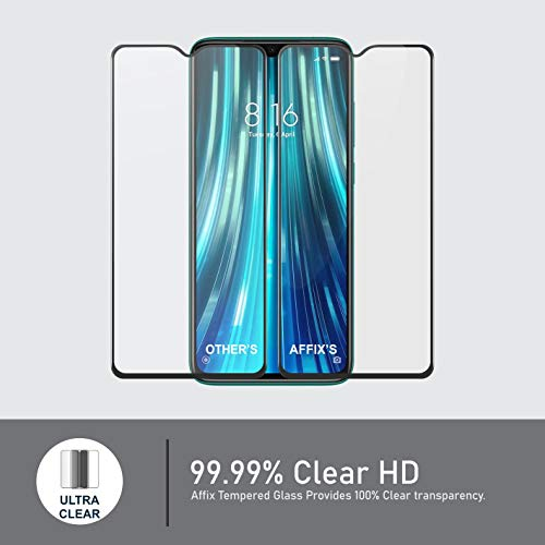 Affix Premium Edge to Edge Tempered Glass for Xiaomi Mi Redmi Note 8 Pro with Easy Installation Kit (Black) – Pack of 1