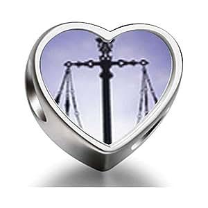 Raras Love escalas Of Law And Justice corazón fotométrico cuentas para pulsera