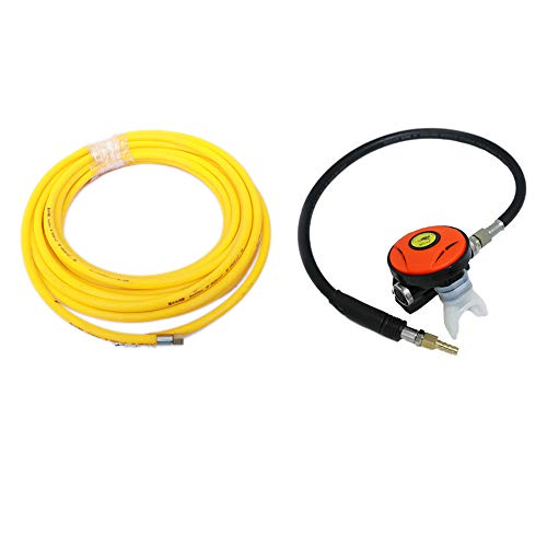 (HPDAVV 50ft PVC Air Hose and 145PSI Scuba Diving Regulator,Octopus Hookah with Mouthpiece,Free Flow Resistant,Clamp Joint,M10×1)