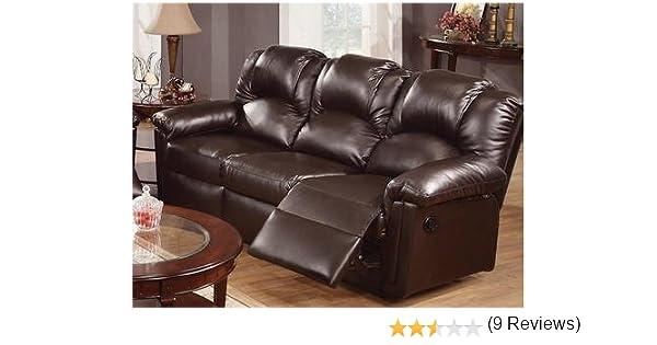 Amazon.com: Espresso Bonded Leather Reclining Motion Sofa By Poundex:  Kitchen U0026 Dining