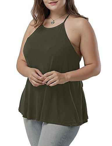 Allegrace Women's Plus Size Summer Sleeveless Basic Halter Neck Camisole Tank Top Army Green 2X - Green Halter Top Shirt