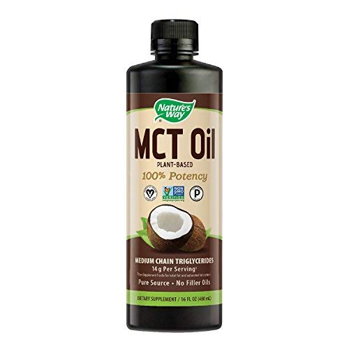 Nature's Way 100% Potency Pure Source MCT Oil From Coconut- Certified Paleo, Certified Vegan- Non-GMO Project Verified, Vegetarian, Gluten-free, Flavorless, No Filler Oils, Hexane-free- 16 Fluid Ounce