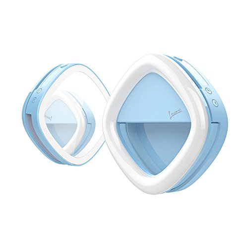 Selfie Ring Light for Camera with Rear Dimmable, Illuminated, Makeup Mirror. 53 LED, Rechargeable, 3 Light Colors, 3 Light Intensity. For iPhone, iPad, Samsung Galaxy, Android Phones, Laptops. Blue by Louxxi