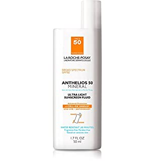 La Roche-Posay Anthelios Mineral Ultra-Light Fluid Broad Spectrum SPF 50, Face Sunscreen with Zinc Oxide and Titanium Dioxide, Oil-Free , 1.7 Fl. Oz