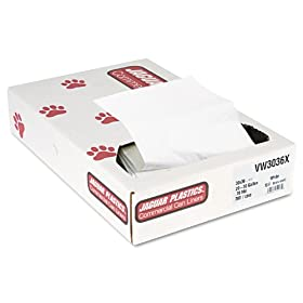 Jaguar Plastics VW3036X Industrial Strength Commercial Can Liners, 20-30gal.7mil, White, 200/CT